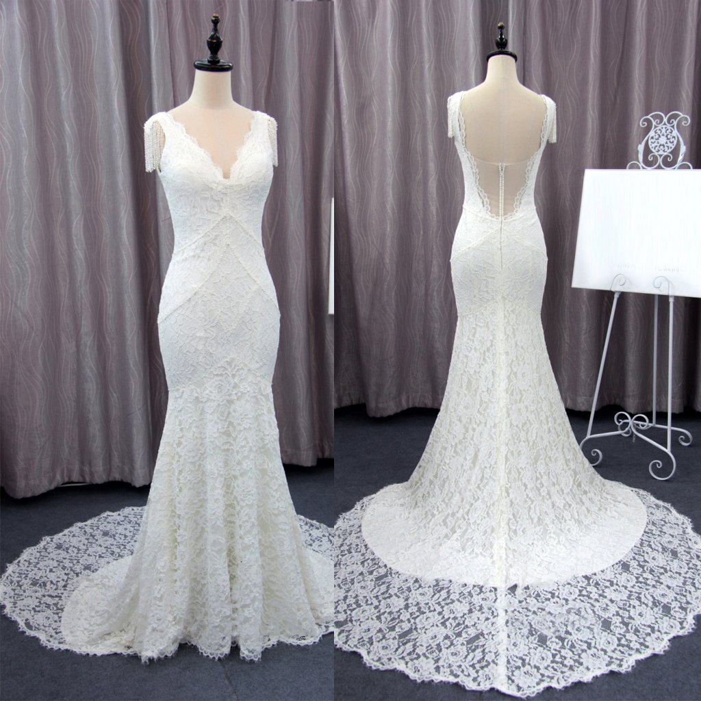 Wedding dresses with train  Unique Cap Sleeves Vneck Ivory Lace Mermaid With Train Wedding