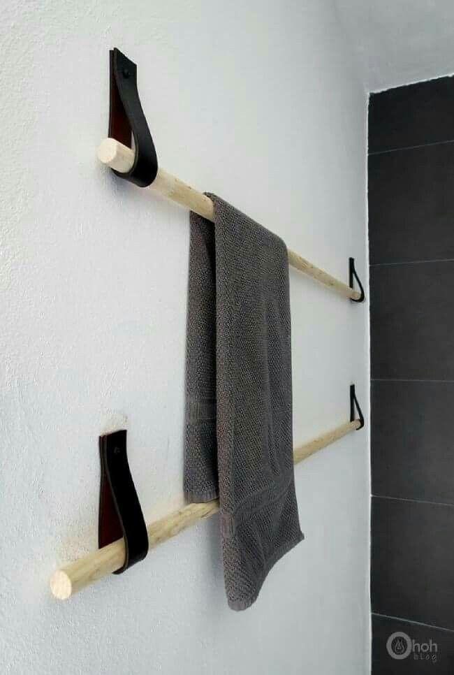 Salle de bain Pose serviette bois et cuir Deco, interiors