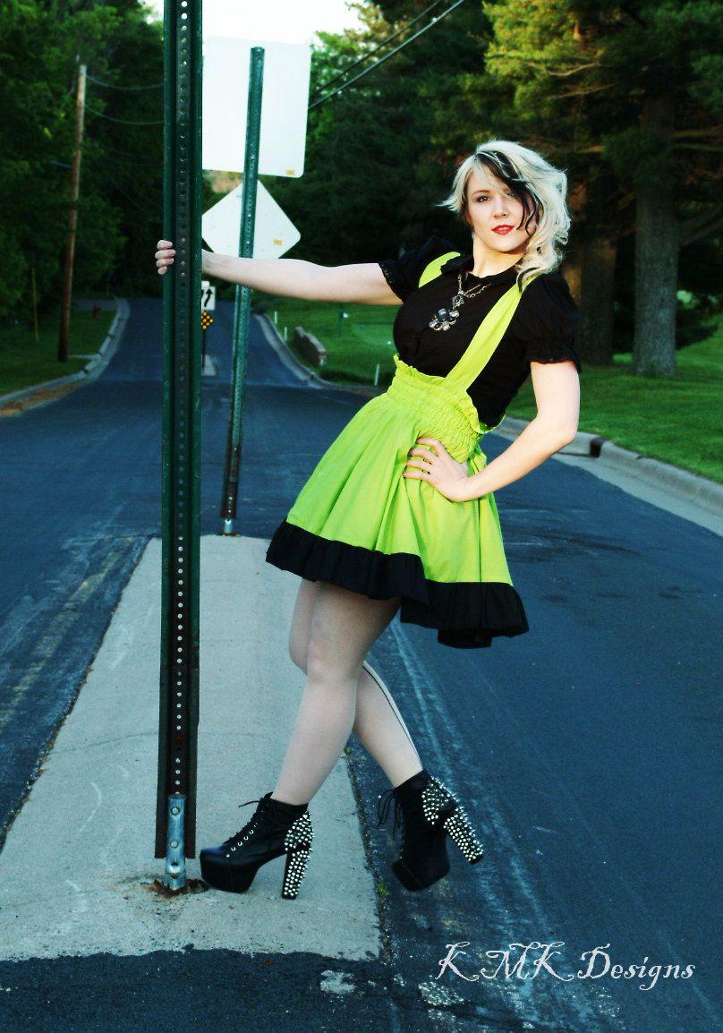 Plus Size Punk Lime Green Dress Gothic Jumper Cyberpunk Custom To