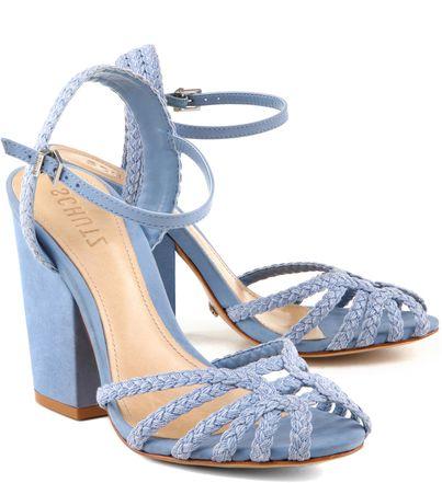 Sandália Salto Bloco e Tira Trançada Azul