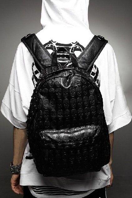 Punk Rivet Embellished Satchel Bag with Skull Print - OASAP.com