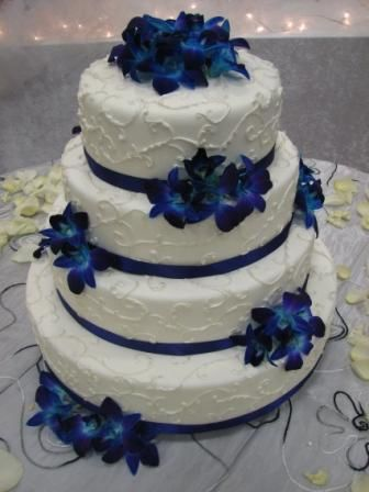 4 Tier Silver Pearled Mehndi Wedding Cake With Purple Orchids Richmond Bc