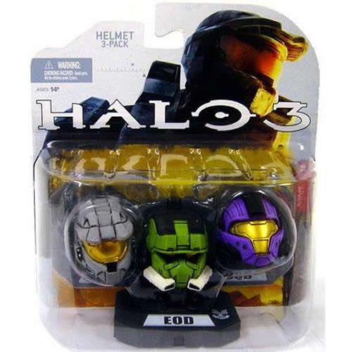 SET 5 MARK VI (Silver) EOD (Green) CQB (Purple) Halo 3 Helmets 3 Pack McFarlane