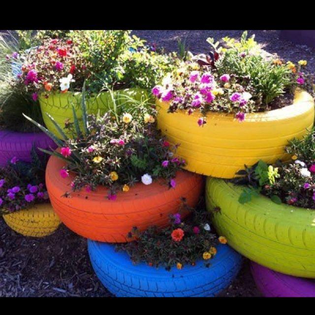 Tire Planters............   Tire garden, Sensory garden