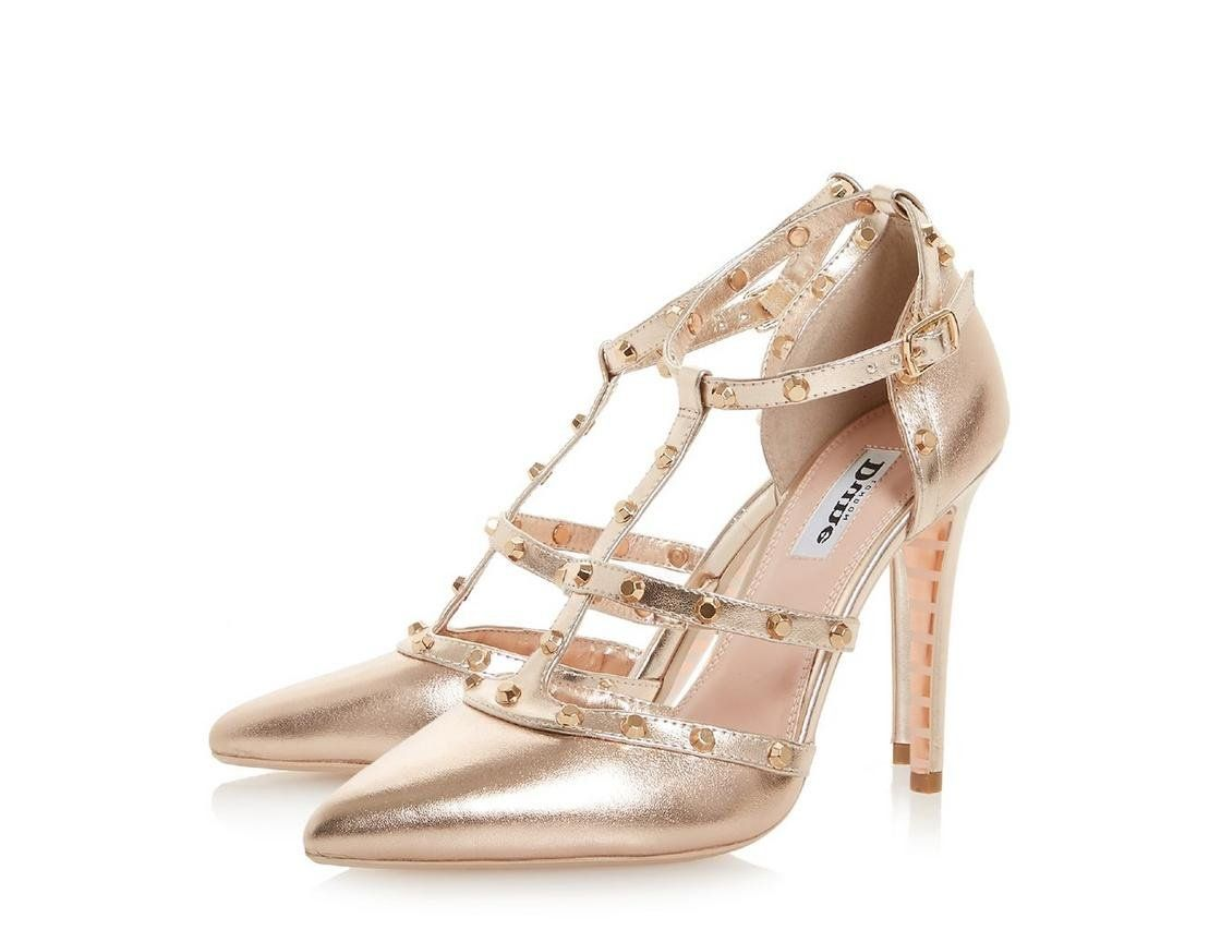 NEW WOMENS LADIES STILETTO HIGH HEEL ROSE GOLD METALLIC ROUNDED TOE COURT SHOES