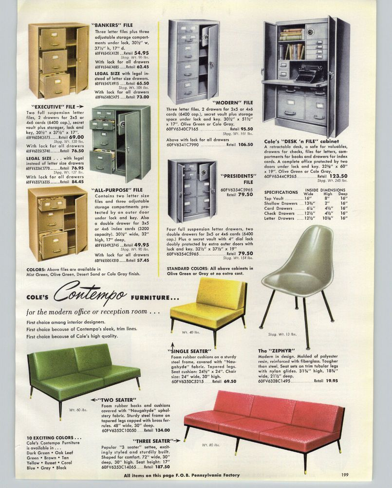 1961 PAPER AD Mid Century Modern Cole Contempo Furniture Zephyr Office  Furniture