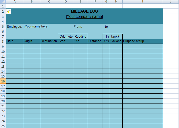 Get Mileage Log Excel Template Xls  Excel Project Management