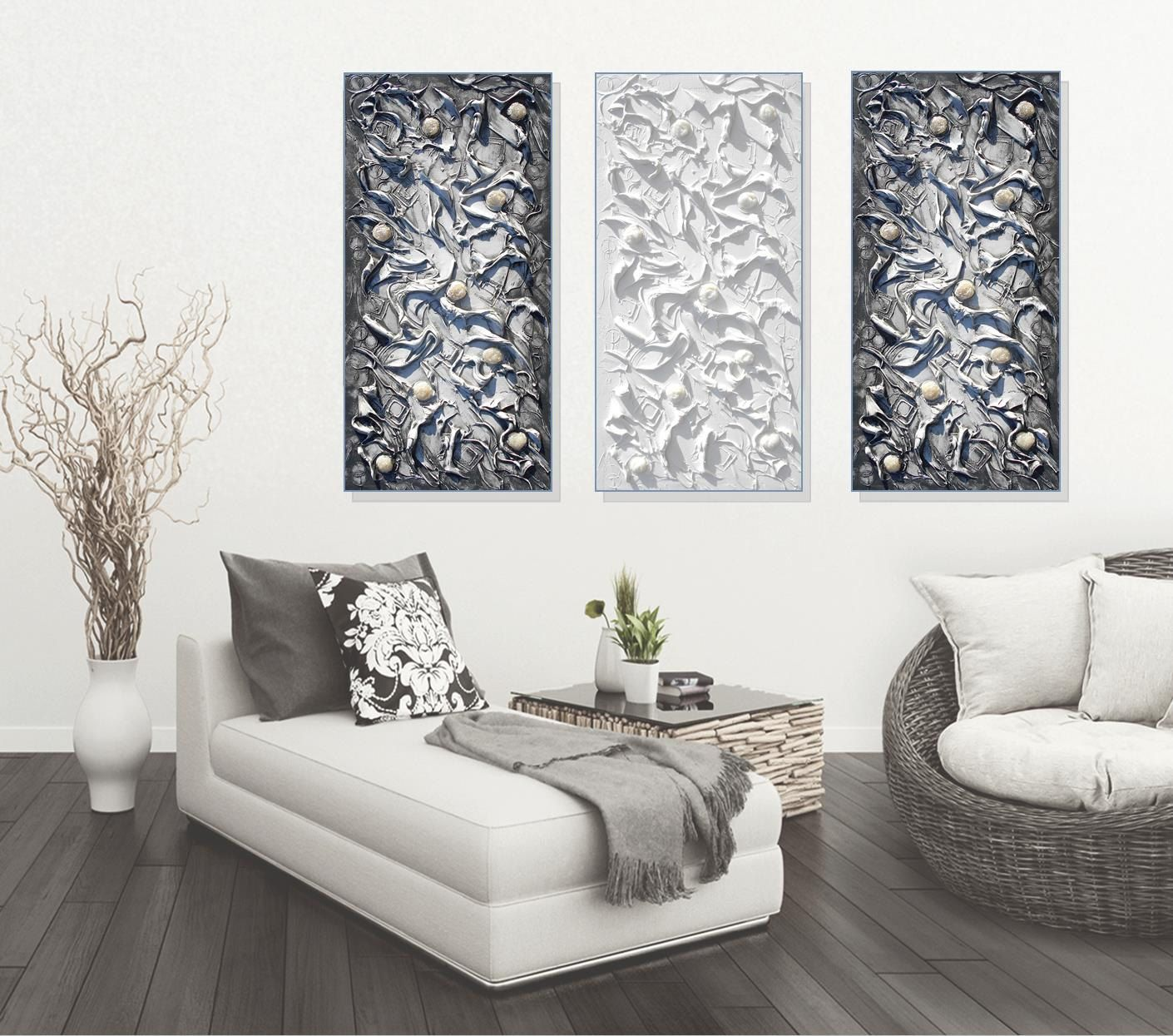Texture Wall Paint For Living Room Black And White Painting Textured Wall Art Canvas Palette Knife