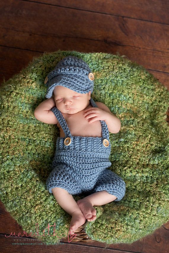 Oliver Newsboy Cap with Crochet Baby Shorts/Pants with Suspenders in ...