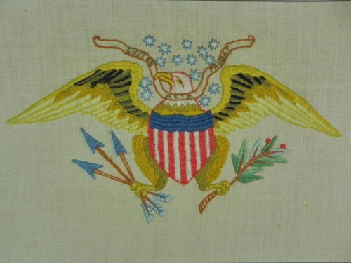 Vintage-US-American-Eagle-Framed-Embroidery-Needlework | Embroidery ...