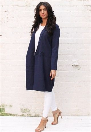c4f348561 LONGLINE DOUBLE BREASTED DUSTER COAT WITH LAPEL IN NAVY BLUE | Fashion