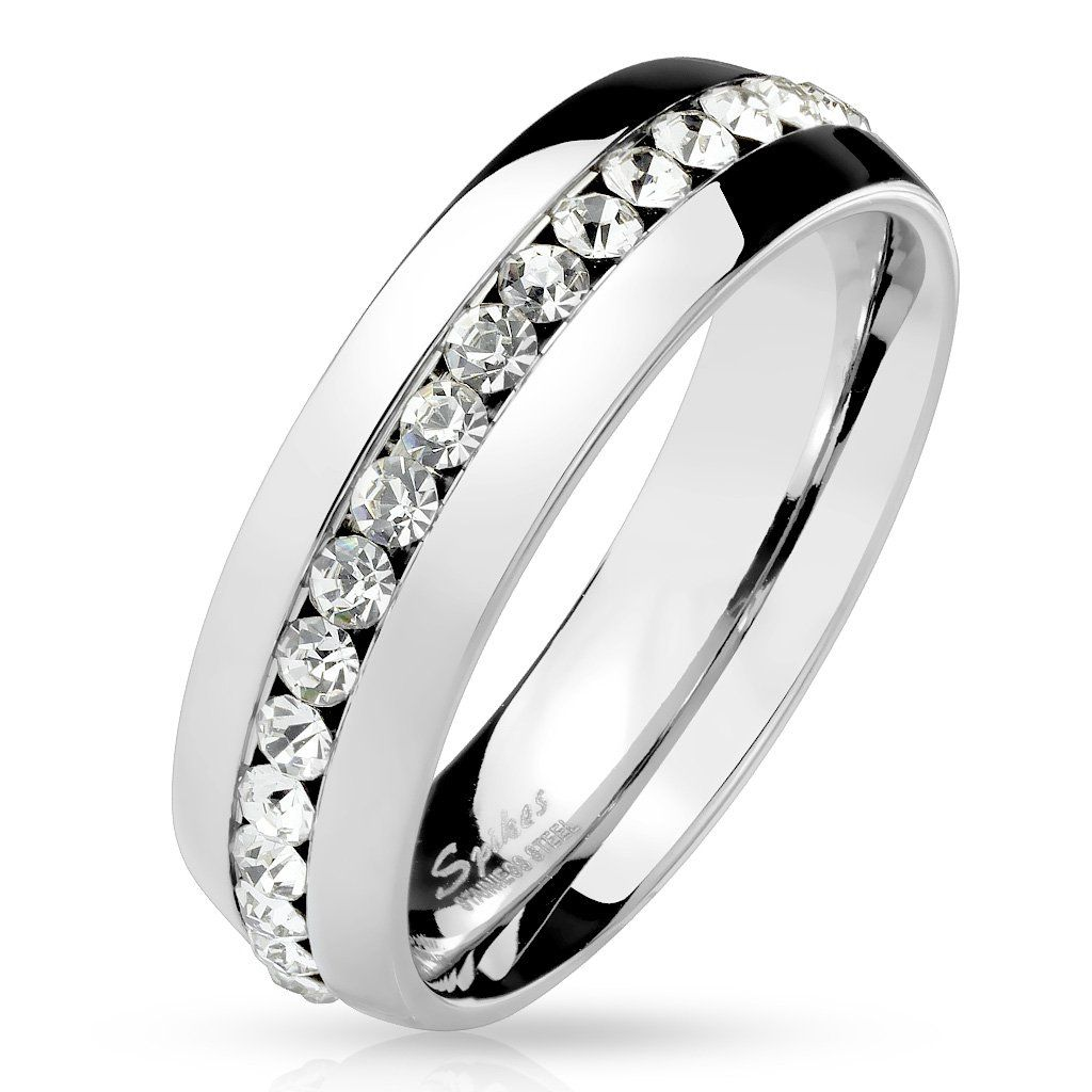 Clear CZ Eternity Set 316 Stainless Steel Dome Ring Band