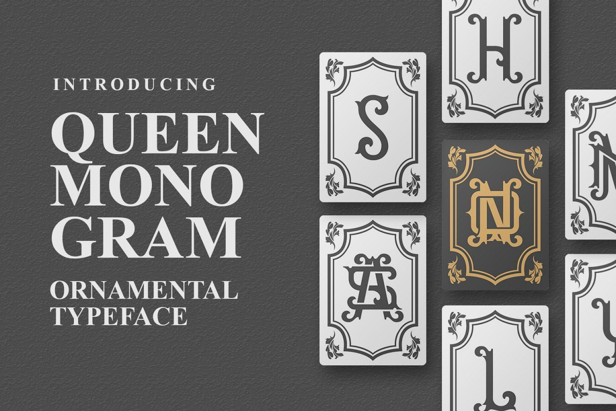 Queen Monogram Font bundles, Monogram fonts, Premium fonts