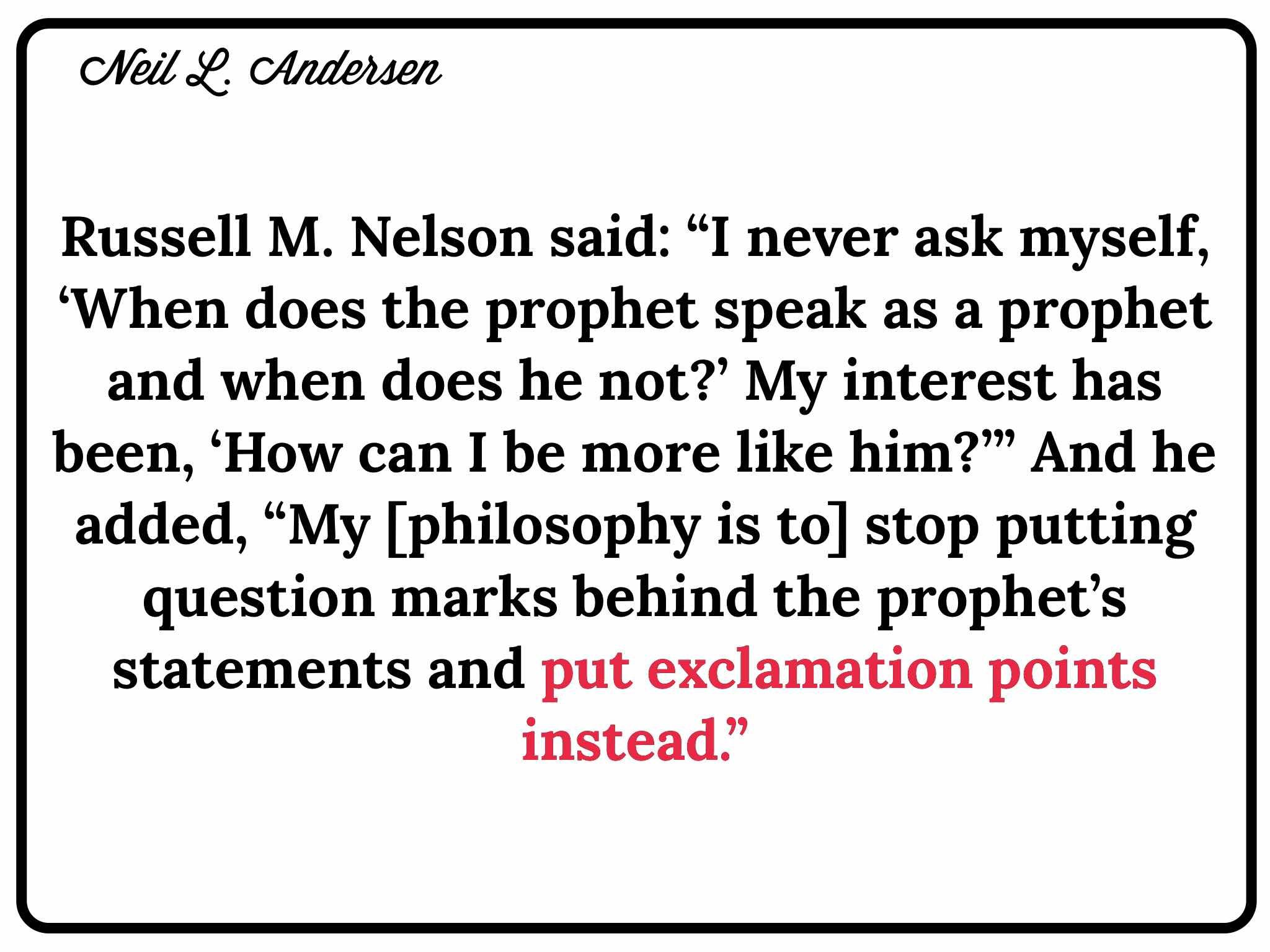 Lesson: The Prophet of God by Neil L  Andersen and Prophets