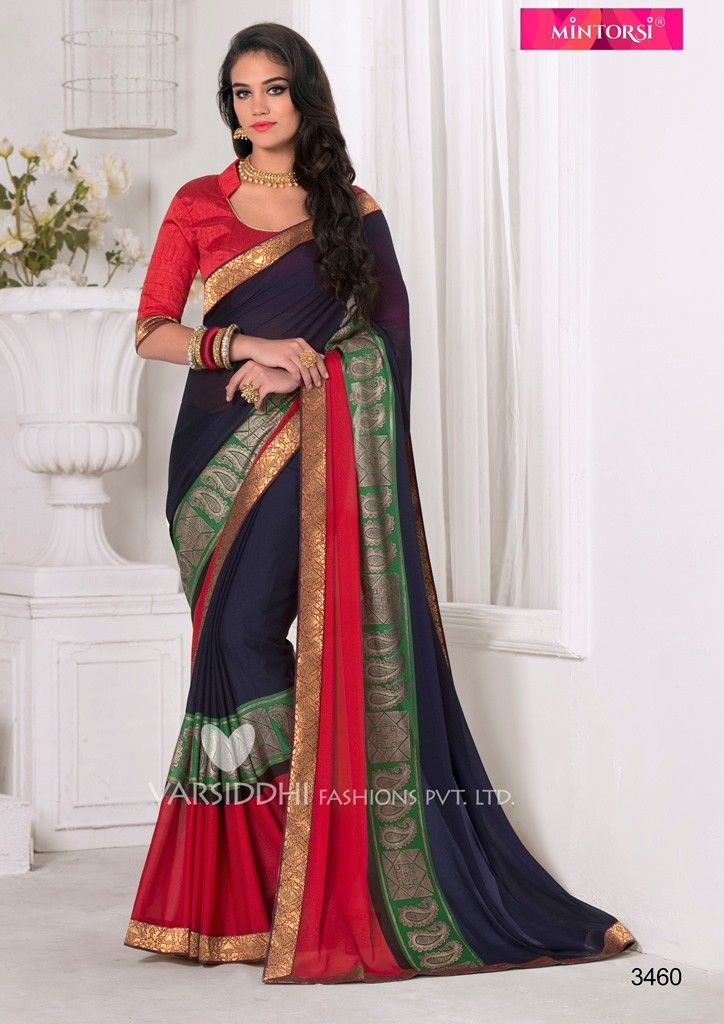 031f449e9cf01 Buy Apparels- Navy Blue and Red Colour Rangoli Georgette With Banarasi  Border Saree