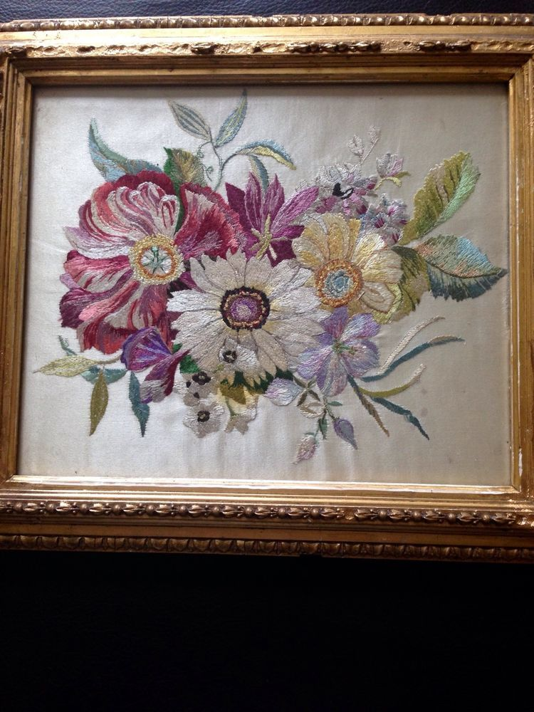 Victorian Silk Embroidered Picture In Gold Frame | Victorian ...
