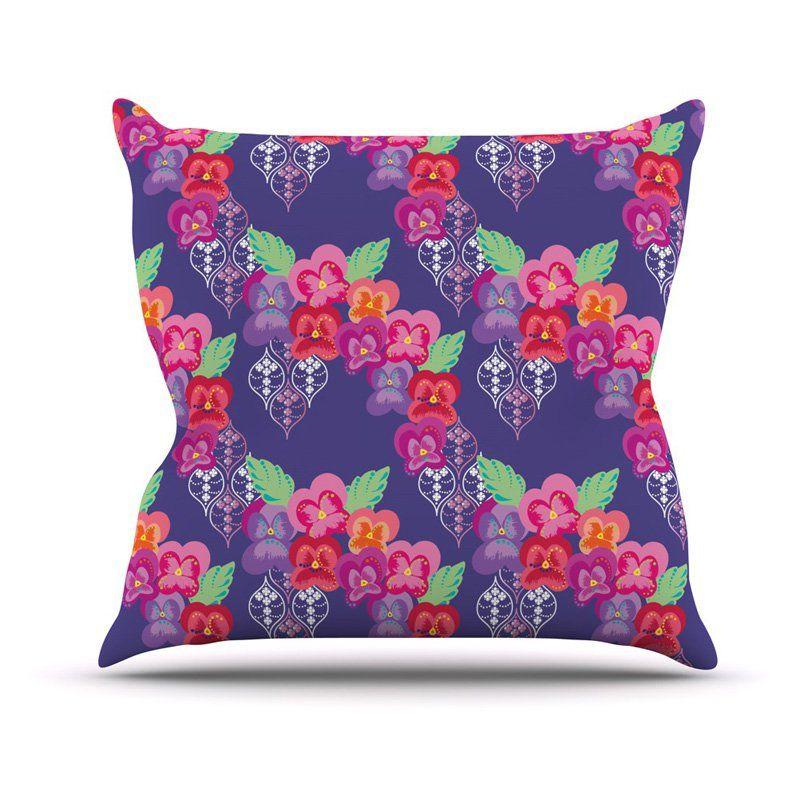 Kess InHouse Anneline Sophia Beautifully Boho Purple Indoor/Outdoor Throw Pillow...