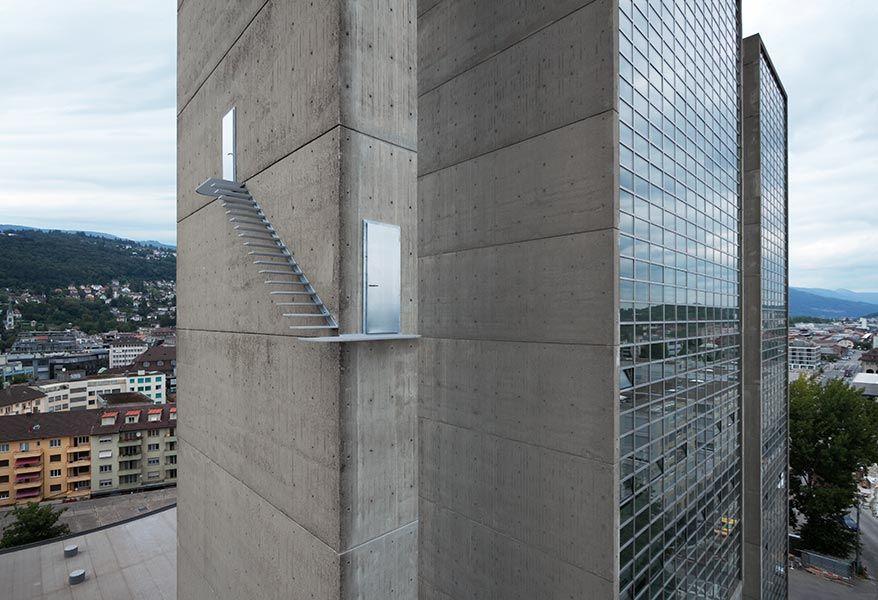 """Scaring staircase - """"Utopics. 11. Schweizerische Plastikausstellung"""" - by artists Sabrina Lang and Daniel Baumann - 2009, Biel-Bienne, CH"""