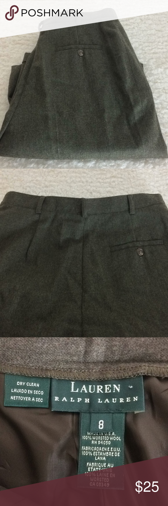 Women's Clothing Modest Ralph Lauren Womens Gray Dress Pants 100% Worsted Wool Size 14 Pleated Cuffed Buy Now Pants