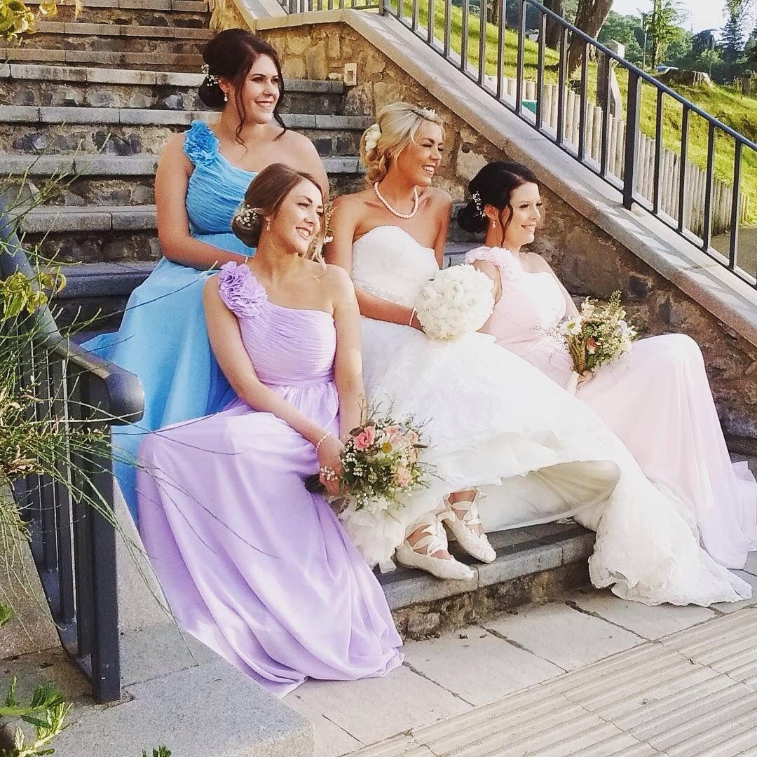 Gorgeous dress shoes hair flowers and bridesmaids everything