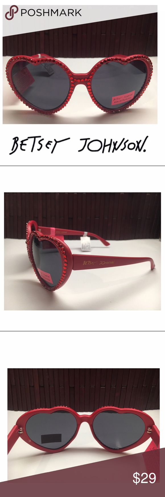 ❤️NEW! Betsey Johnson Rhinestone Heart Sunglasses Stand out in these fabulous Betsey Johnson rhinestone heart shaped sunglasses!                   Frame color: red, Lens color: black.                      Frame material: plastic with resin rhinestones.       Lens type: plastic, 100% UV protection                 Imported, NEW with tags. Accessories Sunglasses