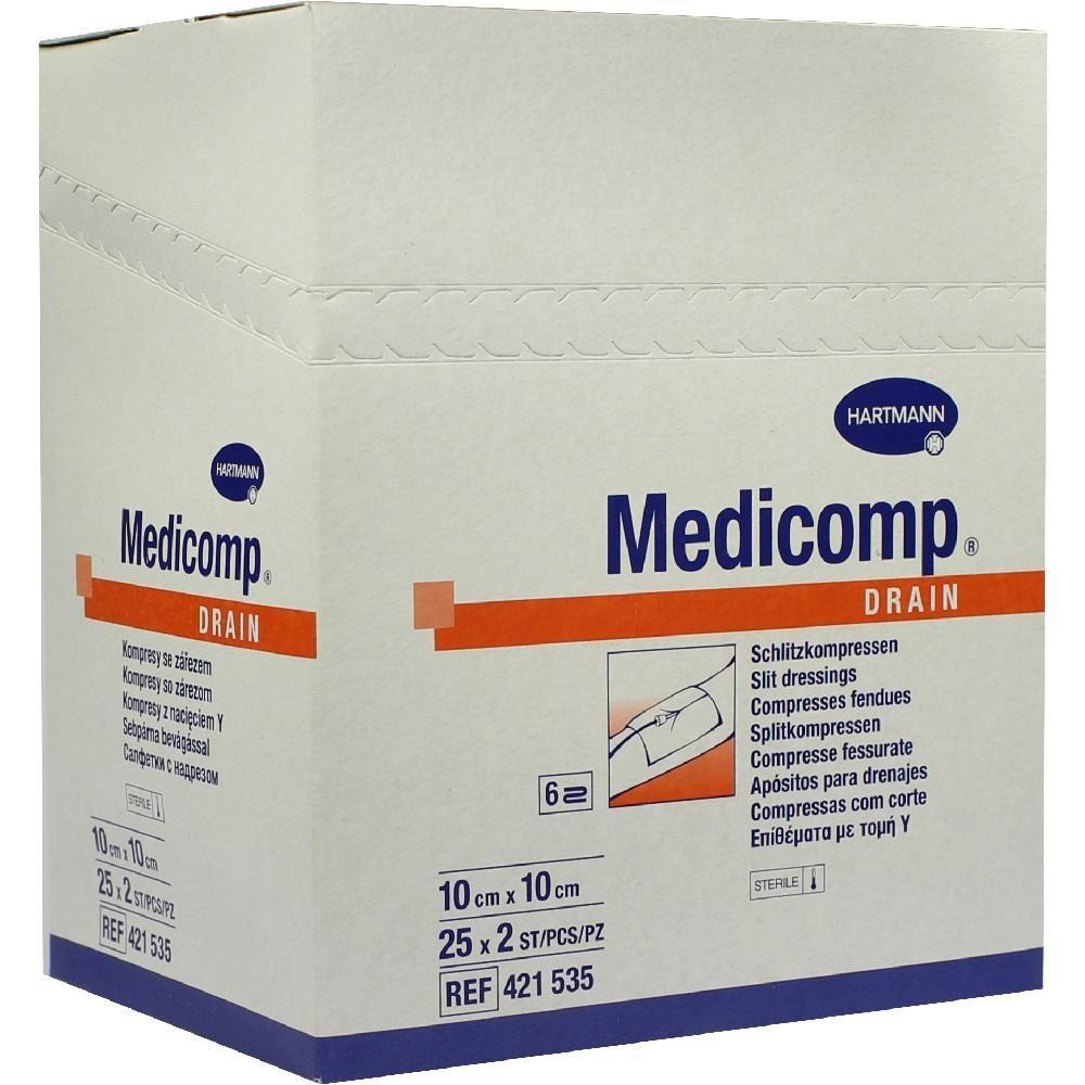 MEDICOMP Drain Kompressen 10x10 cm steril:   Packungsinhalt: 25X2 St Kompressen PZN: 04783967 Hersteller: PAUL HARTMANN AG Preis: 13,52…