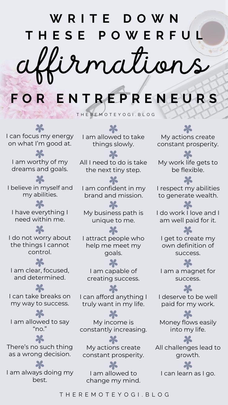 50+ Powerful Affirmations for Entrepreneurs