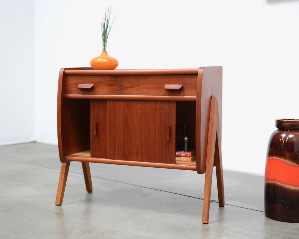 Credenza Danese Vintage : Danish modern teak chest micro credenza cabinet entry table mid