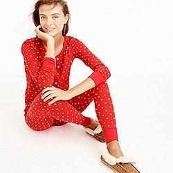 Knit pajama set in polka dot
