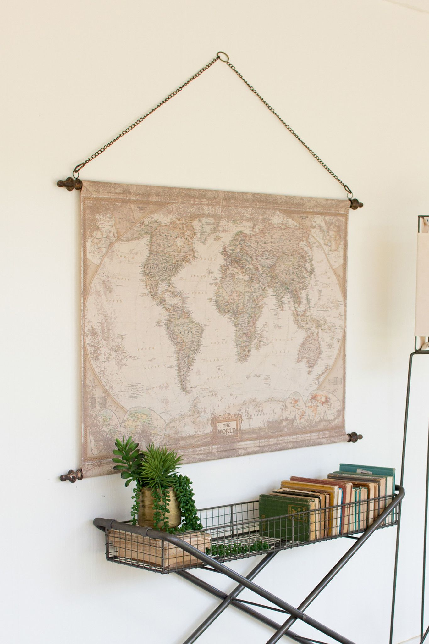 Rustic world map banner wall art with chain living room modern wall art gumiabroncs Image collections