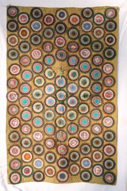 1800s Vintage Antique Table Cover Fabric Penny Rug Circles W Hand Stitched Embroidery Penny Rug Patterns Penny Rug Penny Rugs