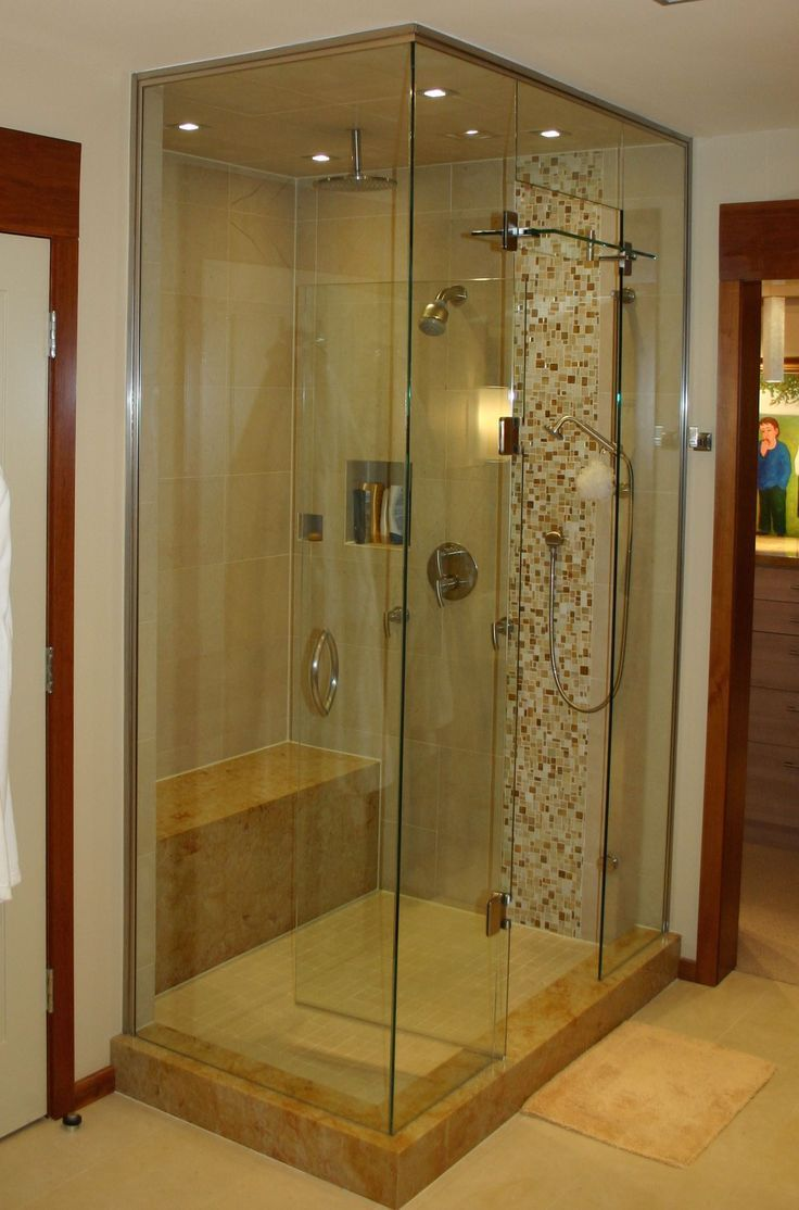 Beautiful Tile And Glass Custom Built Shower With Bench Seating