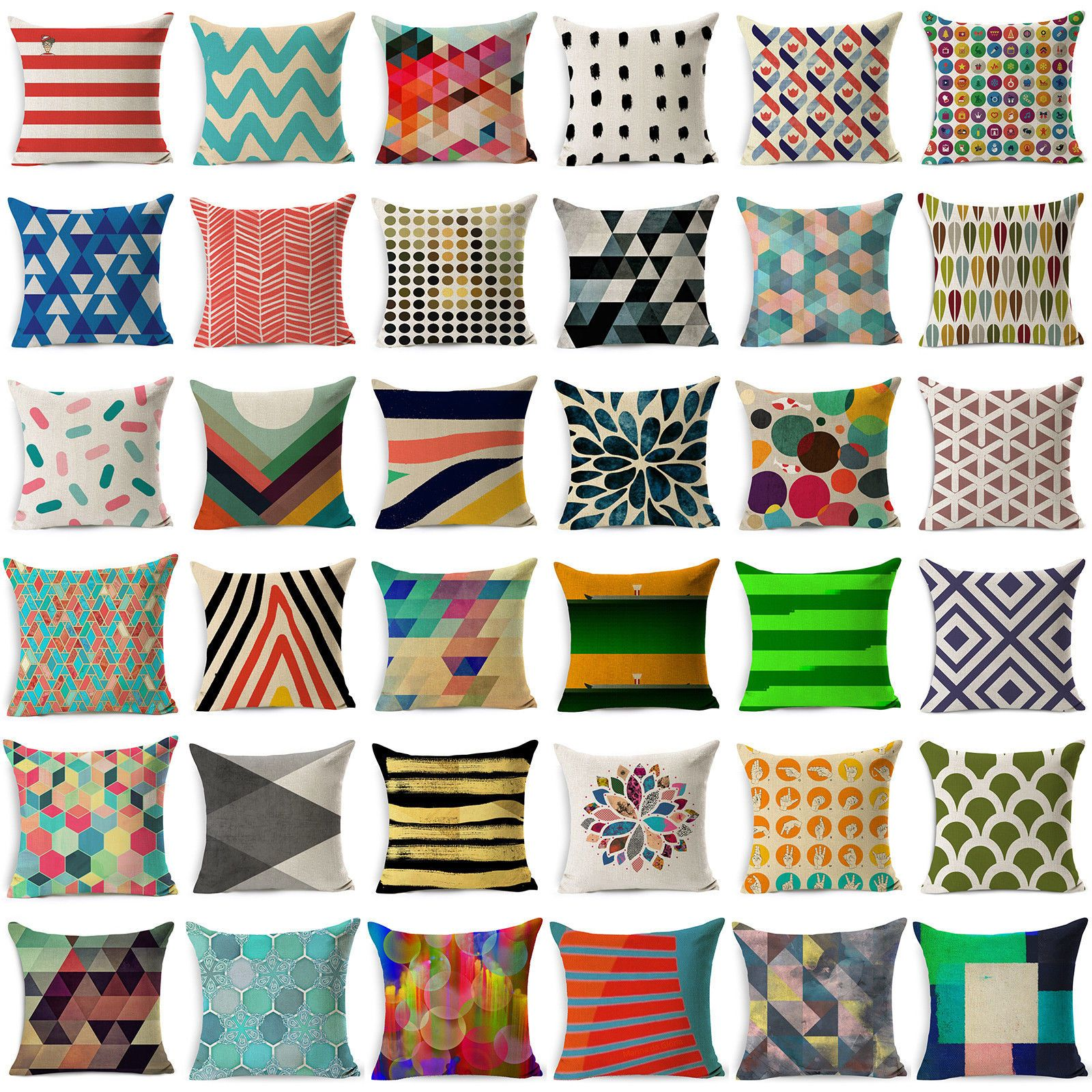 2.46 GBP - Vintage Geometric Cotton Linen Throw Pillow Case Cushion ...