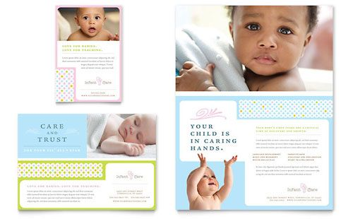 Infant Care Babysitting Brochure Template Design Layouts