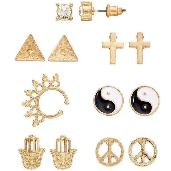 Mudd Triangle, Cross, Hamsa, Ying Yang & Peace Sign Stud Earring & Ear... (75 ARS) ❤ liked on Polyvore featuring jewelry, earrings, accessories, two tone, fake gauge earrings, ear cuff earrings, ear cuff, stud earrings and triangle stud earrings