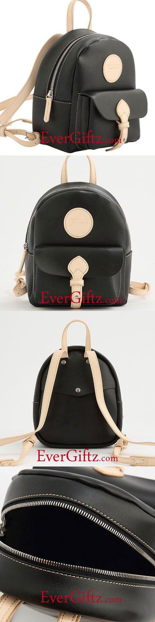 191fbe029424 Genuine Leather Backpack Women Girl Cute Black Small Bag Shoulder Bag  Handbag