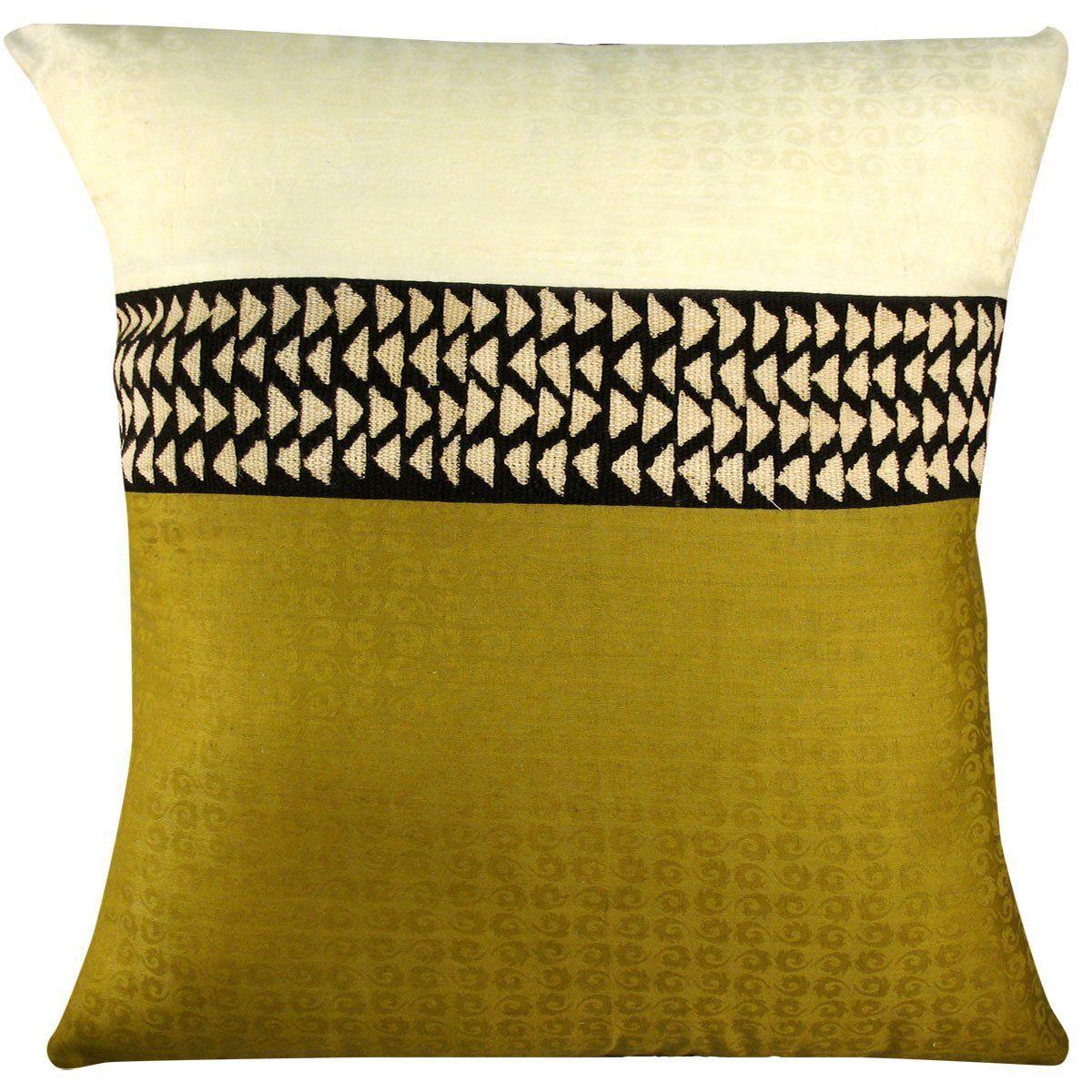 Amazon.com: African Cream and Sage Mudcloth Throw Pillow ...