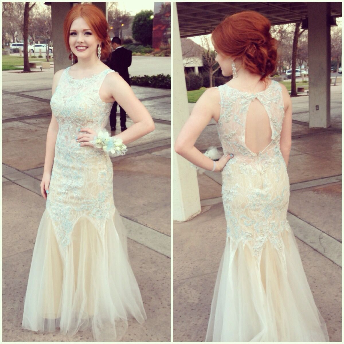 Wearing a lovely ivory mac duggal dress love this mermaid dress for