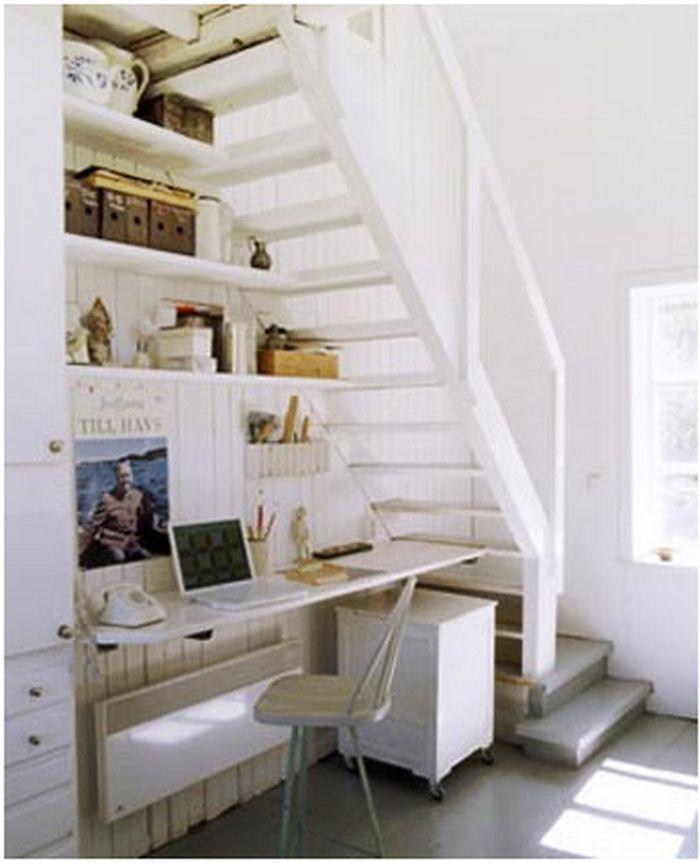 Desk workstation under loft stairs.....or just put up shelves and ...