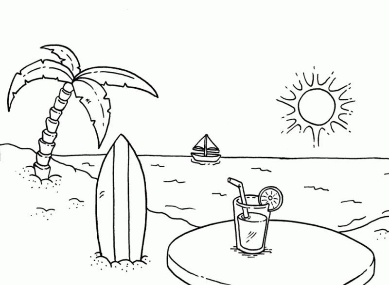 Gambar Mewarnai Pantai Beach Pinterest Coloring Pages Beach
