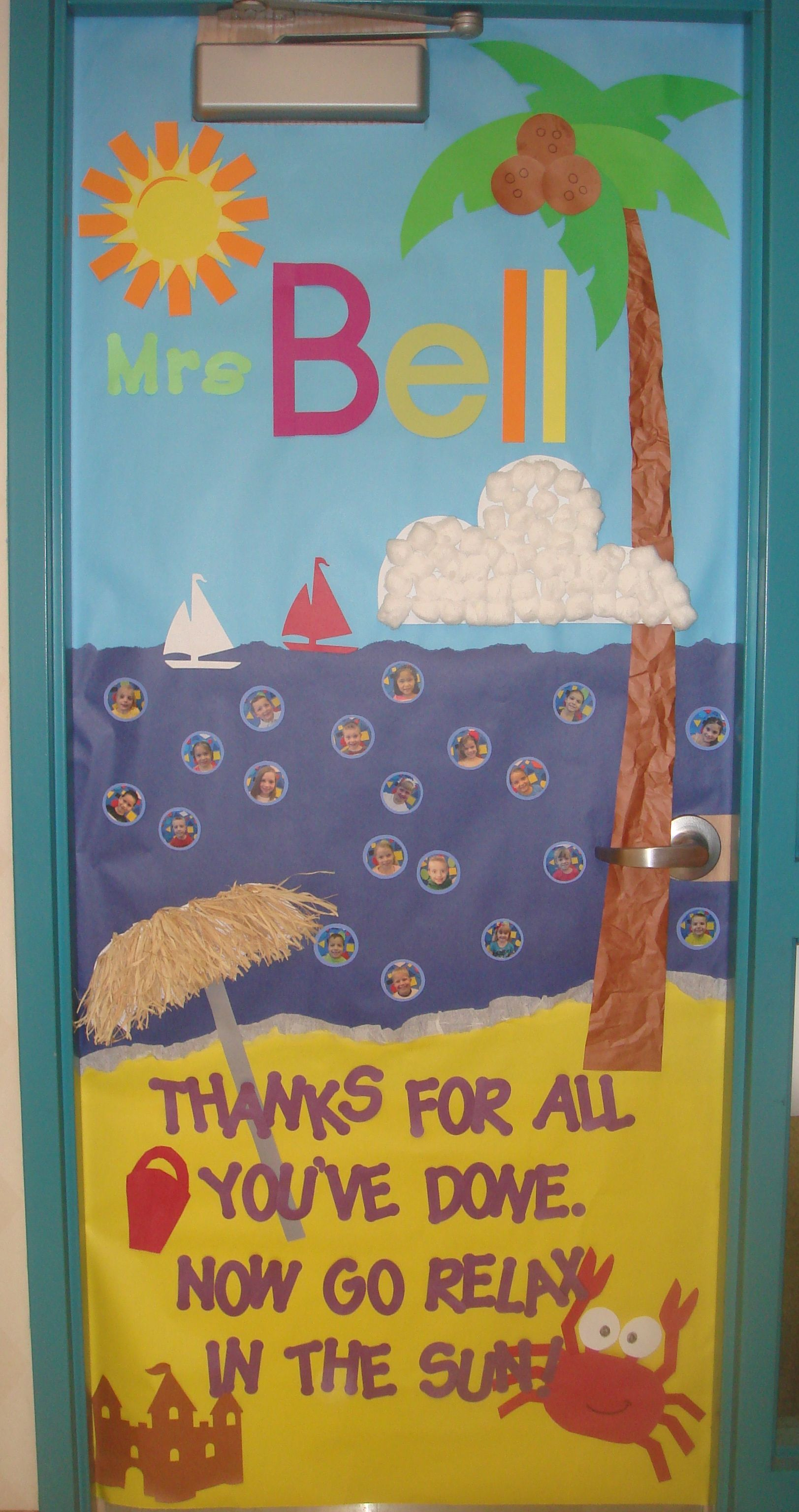Classroom Door Decoration Ideas Summer : Teacher appreciation door decorating summer beach relax