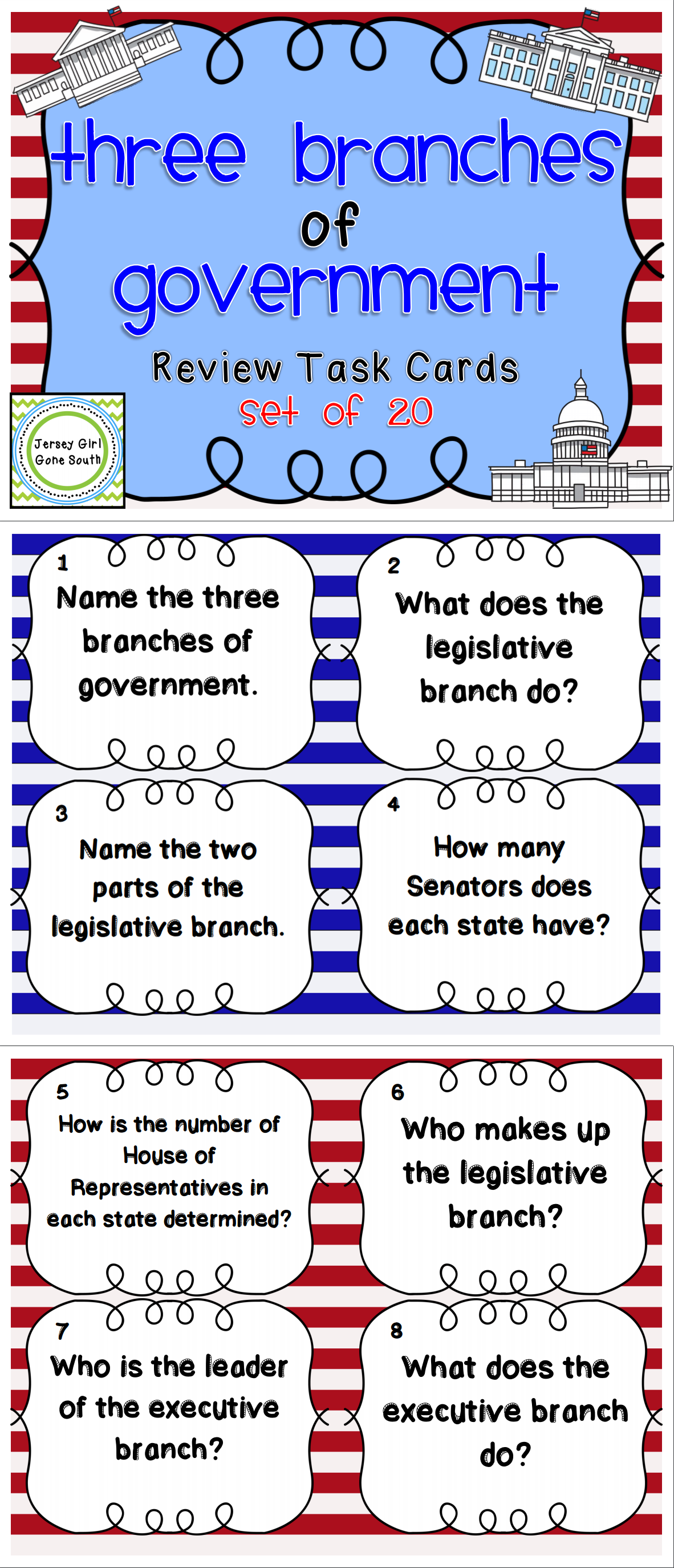 Three Branches Of Government Review Task Cards