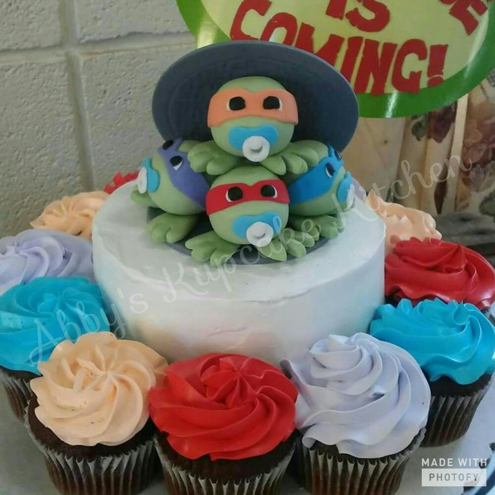 Ninja Turtles Baby Shower Cake And Cupcakes Abbys Kupcake