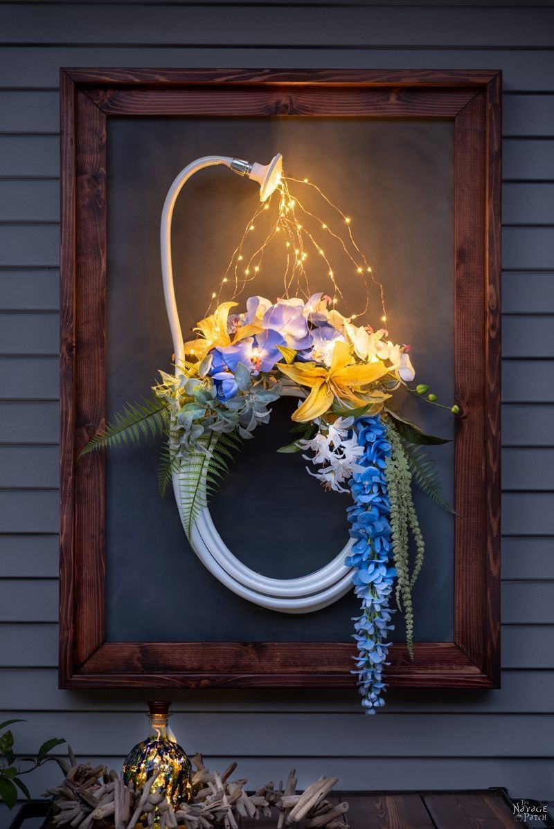 Lighted Garden Hose Wreath Tutorial Garden hose wreath