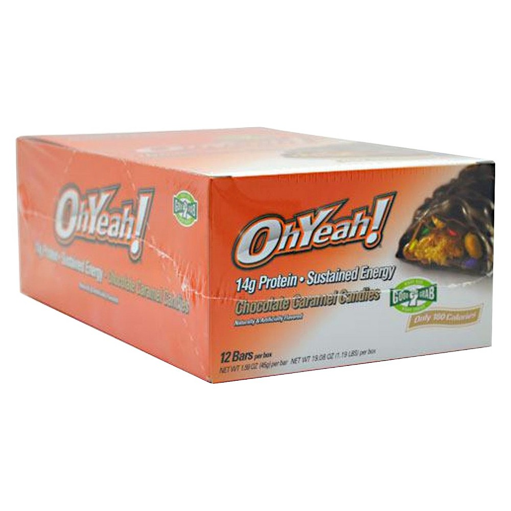 Oh Yeah Snack Protein Bar - Chocolate Caramel Candy - 12 Count