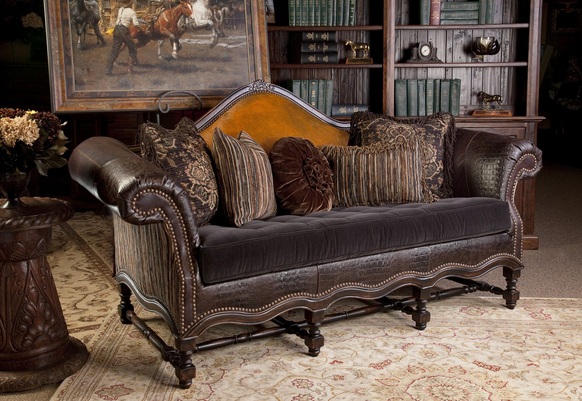 Leather Camel Back Sofa. Mohair Velvet Bench Seat With Hair On Hide Cowhide  On Back