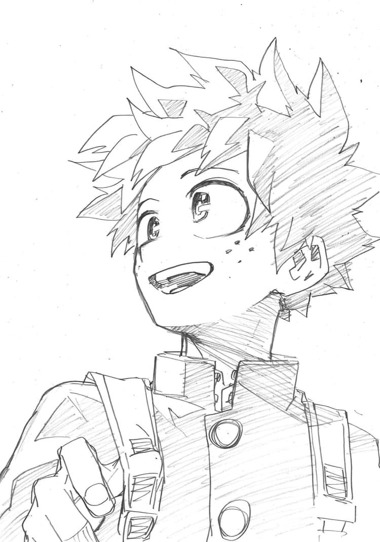 Deku Looks So Cute In This Picture Thanks For This Horikoshi Sensei Anime Sketch Anime Character Drawing Anime Drawings