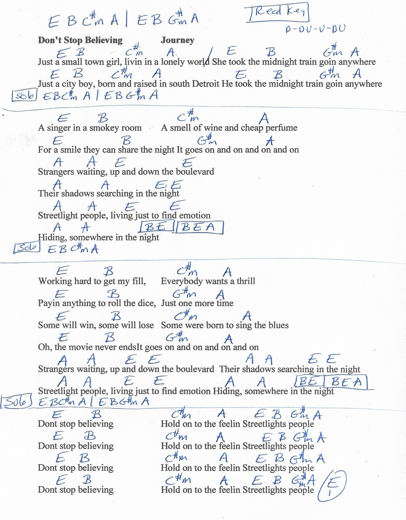Don T Stop Believin Journey Guitar Chord Chart In E Real Key