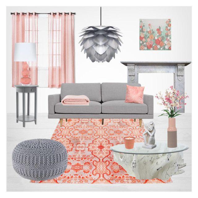 Grey & Peach living room\