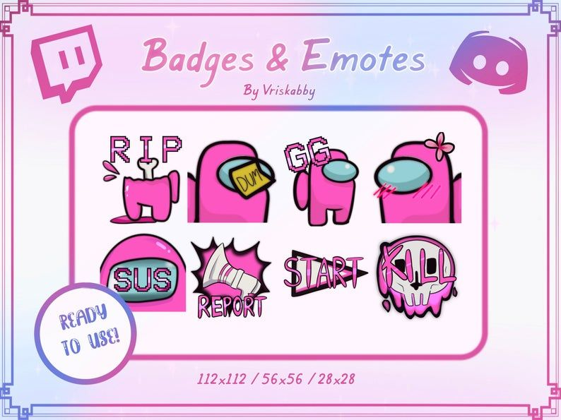 Twitch Discord Emote Badges Bundle 8 Pack Among Us Pink Etsy In 2020 Discord Emotes Discord How To Draw Hands